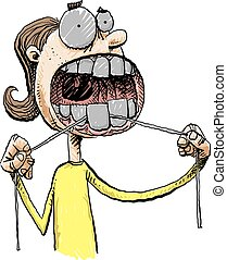 Woman Flossing - A cartoon woman flossing her teeth with a...