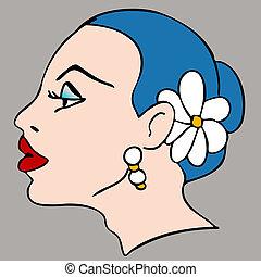 Woman Flower Hair Profile