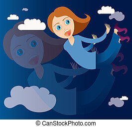 woman flying - is an illustration in EPS file.