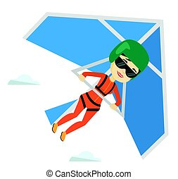 Woman flying on hang-glider vector illustration.