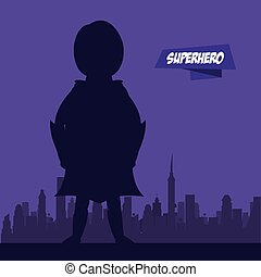Woman flying superhero on city silhouette