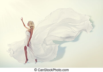 Woman Flying White Dress, Elegant Fashion Model in Fluttering Gown, Art Fabric Fly and Flutter on Wind