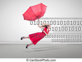 Woman flying with a broken umbrella on binary code...