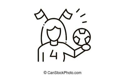 Woman Football Cheerleader Icon Animation. black Woman Football Cheerleader animated icon on white background