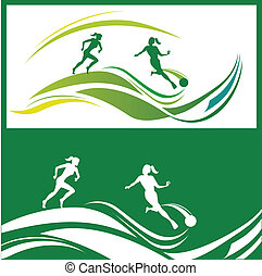 Woman football - Vector illustration of silhouettes women\'s...