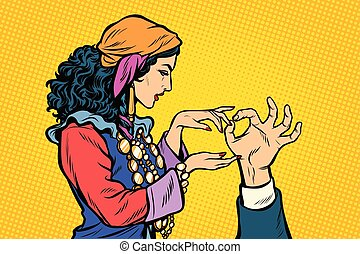 Woman fortune teller Gypsy. Palmistry hand. Pop art retro...