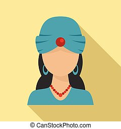 Woman fortune teller icon, flat style