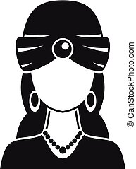 Woman fortune teller icon, simple style