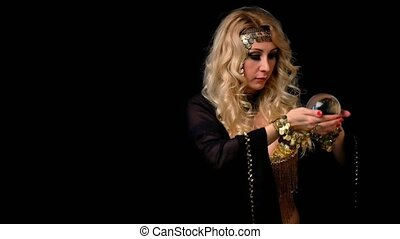 Woman fortune teller with crystal ball portrait