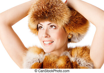 Woman Fox Fur Hat Coat, Winter Fashion Model White isolated