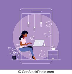woman freelancer working from her home