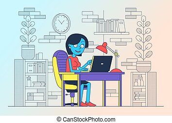 Woman freelancing with a laptop in her home office