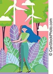 woman friendly environment field wind turbine energy ecology