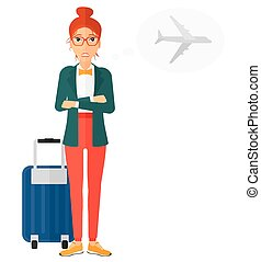 Woman frightened by future flight. - A woman frightened by...