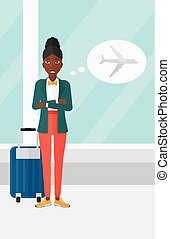Woman frightened by future flight. - An african-american...