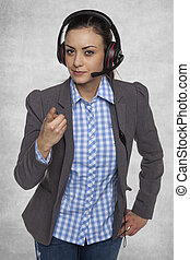 woman from technical support points to you