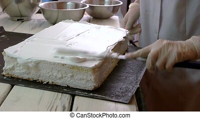Woman frosting a cake at professional bakery. Confectioner...
