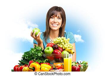 Woman, fruits, nature