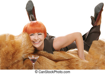 Woman fur and cocktail