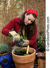 Woman gardening and repotting in front of a bamboo fence.