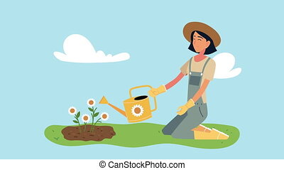 woman gardening animation with sprinkler and flowers ,4k ...