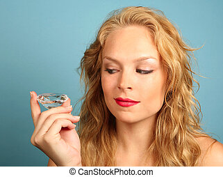 Woman Gazing at a Large Diamond