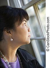 Woman gazing out window.