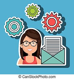 woman gears icon