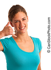 woman gesturing call me sign