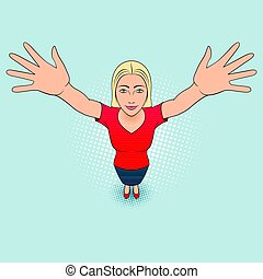 Woman Gesturing - Cartoon Illustration of a Young Woman...