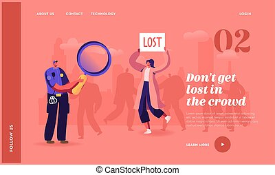 Woman Get Lost in Crowded Place Landing Page Template. Policeman Character with Magnifier, Big City Social Problem