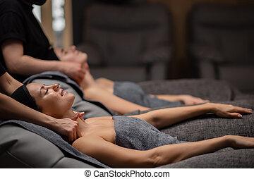 woman get massage on neck