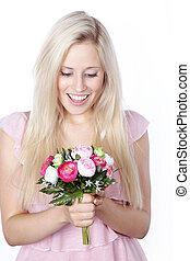 Woman gets flowers for