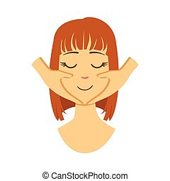 Woman getting a face massage. Facial treatments. Colorful cartoon character isolated on a white background