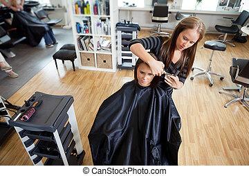 Woman Getting a Hair Cut