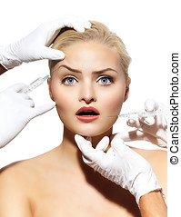 Woman Getting Injectables - Closeup of a woman getting botox...