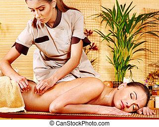 Woman getting  massage . - Woman getting  massage in spa.