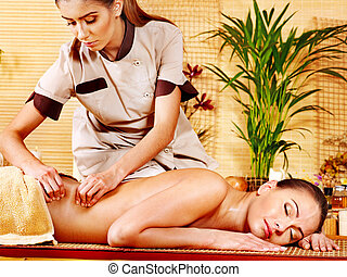 Woman getting  massage . - Woman getting  massage in spa.