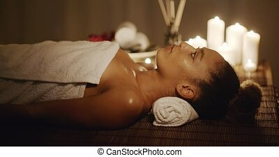 Woman Getting Relaxing In The Spa Salon