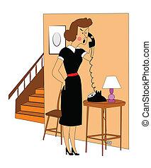 woman getting upset on phone - retro woman getting upset on...