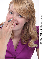 Woman giggling
