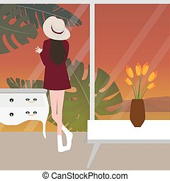 woman girl female looking window glass from behind wearing hat sunset
