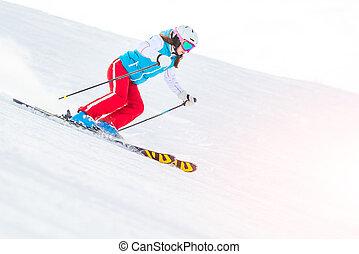 Woman Girl Female On the Ski