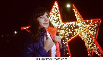 woman girl night jacket scarf and star dark winter light...
