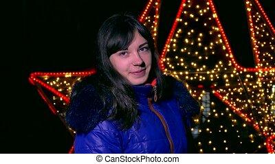 woman girl night kurtrke scarf and dark winter light bokeh -...