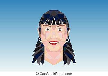 Woman girl poligonal face logo