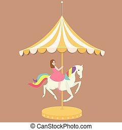 woman girl riding horse carousel cartoon flat carnival illustration