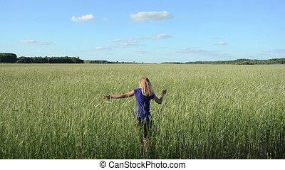 woman girl wheat field