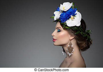 Woman girl wreath of flowers on head Hair Salon Fashion ...