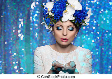 Woman girl wreath of flowers on head, lights party ...
